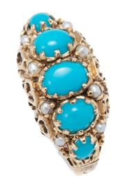 Sale 9037 - Lot 368 - A VICTORIAN STYLE TURQUOISE AND PEARL RING; centring a row of 3 oval and 2 round cabochon turquoise adjacent to 8 seed pearls in 9ct...