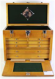 Sale 9070 - Lot 46 - Timber Lockable Jewellery Box (42cm x 52cm x 28cm)