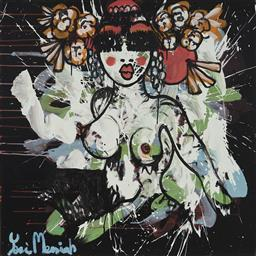 Sale 9157A - Lot 5008 - YOSI MESSIAH (1964 - ) Lucy First, 2020 mixed media on board (unframed) 85 x 85 cm signed lower left, dated and titled verso