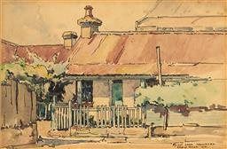 Sale 9099A - Lot 5068 - Gladys Owen (1889 - 1960) - Old Cottage on Spicer Lane, Woolharra, 1956 17 x 25.5 cm (frame: 43 x 51 x 3 cm)