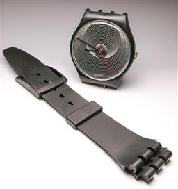 Sale 9114 - Lot 11 - A Swatch wall clock (Dia 31cm, Approx L 200cm)