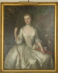 Sale 8392H - Lot 46 - C18th English School - Portrait of Miss Catherine Bayly, Lady Peyton, Daughter of Mr & Mrs Bayly, Derby, Wife of Sir Yelverton Peyto...