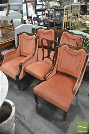 Sale 8402 - Lot 1047 - Late Victorian Mahogany Four Piece Parlour Setting, comprising settee, gentlemans, ladys & side chairs, having rosewood marquetry...