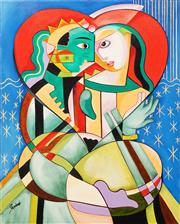 Sale 8675 - Lot 501 - Allan Goddard (1950 - 2018) - Lovers 76 x 61cm
