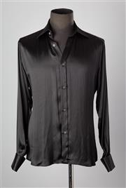 Sale 8661F - Lot 66 - A Gucci black silk shirt, size 41/16, with fold over cufflinked sleeves