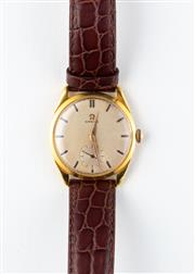 Sale 8770 - Lot 66 - A Vintage Omega Wristwatch; gold plated head, matte champagne dial, subsidiary seconds, 17 jewel cal. 267 manual movement, stainless...