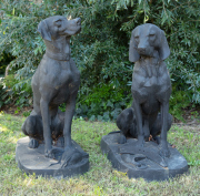 Sale 8795A - Lot 3 - Two cast iron dogs on bases, the taller H 93cm