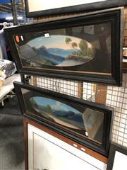 Sale 8816 - Lot 2089 - Pair of Framed Oil Mountainous Landscape Scenes, under Glass