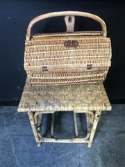 Sale 9034 - Lot 1083 - Wicker Picnic Basket and Contents together with a Side Table (H:50 W:52 D:40cm)