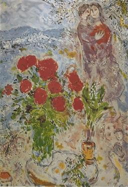 Sale 9108A - Lot 5033 - Marc Chagall (1887 - 1985) - Red Bouquet and Lovers 84 x 63 cm (sheet)