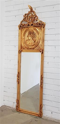 Sale 9137 - Lot 1010 - Ornately carved gilt mirror - 209 (h:173 x w:48cm)