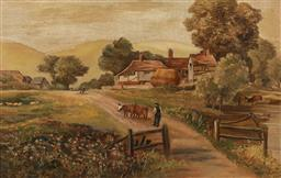 Sale 9212A - Lot 5055 - V. LODER Farmyard at Sunset, 1907 oil on canvas 34.5 x 54.5 cm (frame: 51 x 71 x 6 cm) signed and dated lower right