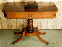 Sale 8392H - Lot 48 - A C19th mahogany and ebonised fold over card table on quadruped base with green baize lining, H 72cm