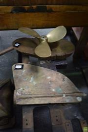 Sale 8550 - Lot 1082 - Brass Rudder & Propeller