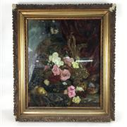 Sale 8545N - Lot 180 - Reverse Painting On Glass, frame A/F and some losses to paint) (44cm x 53cm)