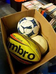 Sale 8663 - Lot 2191 - Box of Various Sports Balls