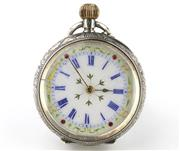 Sale 8679 - Lot 359 - LADYS ANTIQUE SWISS SILVER OPEN FACE POCKET WATCH; white dial, Roman numerals, push pin at 12.30, stem wind, case diam. 32mm, cased,