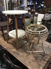 Sale 8795 - Lot 1087 - Cane Plant Stand & Timber Side Table (2)