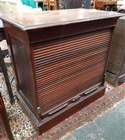 Sale 8939 - Lot 1040 - Early 20th Century Walnut Tambour Front Office Cabinet, enclosing a single shelf. H: 85 W: 85 D: 48cm