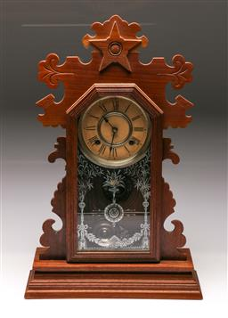 Sale 9110 - Lot 10 - An Ansonia New York timber cased mantle clock (H:57cm)