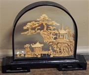 Sale 8320 - Lot 914 - 1980s Chinese carved cork diorama with clifftop pavilion