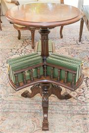 Sale 8341A - Lot 74 - A Victorian walnut inlaid circular occasional table with lower revolving bookcase, H 76cm x D 43cm