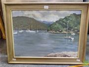Sale 8407T - Lot 2028 - Artist Unknown (XX) Boats on the Lake, oil on board, signed Joustra lower left