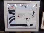 Sale 8437 - Lot 2005 - Graeme Townsend (1954 - ) - Emus Graphic Memory, 1982 48.5 x 57.5cm