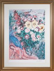 Sale 8562A - Lot 94 - Marc Chagall - Woman in Garden total H inc frame 116 x 87cm