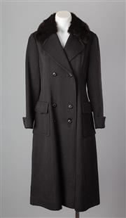 Sale 8661F - Lot 62 - A Mark Shaw, Melbourne black wool double breasted coat with fur collar, size 14
