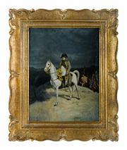 Sale 8660A - Lot 72 - Antique French - Portrait of Napoleon Bonaparte on Horseback 35 x 28cm