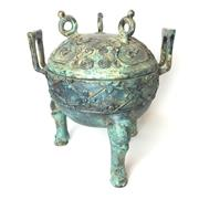 Sale 8795K - Lot 217 - A Chinese metal lidded vessel on three feet