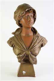 Sale 8868 - Lot 1174 - Large Handpainted composite bust of a lady, mark to back, Dipose, H58cm