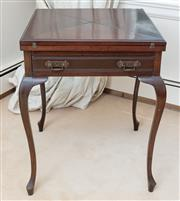 Sale 8908H - Lot 68 - An Edwardian antique English and Envelope swivel top mahogany card table, C.1910. The top opening to reveal a green baize playing su...