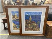 Sale 8995 - Lot 2042 - Wendy Wooden (2 works)  Mediterranean Town Scene and Moored Boats decorative prints, facsimile signed 114 x 97cm