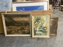 Sale 9111 - Lot 2100 - Seven works including decorative prints of 17th century paintings and original paintings of harbour scenes