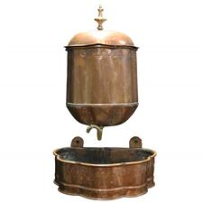 Sale 8351A - Lot 36 - Vintage French Copper Wall Fountain and Basin with Brass Handle and Tap 58x35cm depth 28cm