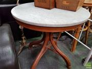 Sale 8469 - Lot 1072 - Marble Top Table over Bentwood Base