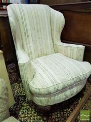 Sale 8545 - Lot 1087 - Cream & Striped Upholstered Wingback Armchair (052177)