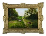 Sale 8660A - Lot 18 - Louise De Hem (1866-1922) - Cattle Grazing 45 x 64cm