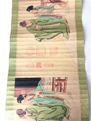 Sale 8739 - Lot 82 - Chinese scroll with images of various figures, calligraphy detail etc.