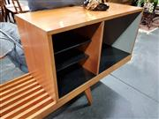 Sale 8801 - Lot 1030 - George Nelson for Herman Miller Sideboard with Pelt Clad Drop Front Section od Fitted Black Glass Shelves