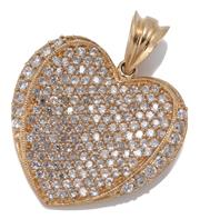 Sale 9054 - Lot 339 - A 9CT GOLD STONE SET HEART PENDANT; 26 x 27mm heart pave set with round brilliant cut zirconias, wt. 8.10g.