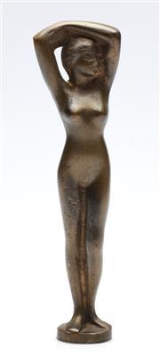 Sale 9090 - Lot 11 - A Bronze Female Mascot H: 17cm