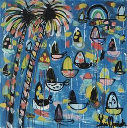Sale 9157A - Lot 5036 - YOSI MESSIAH (1964 - ) Palms Crystal Blue, 2020 mixed media on board (unframed) 85 x 85 cm signed lower right, dated and titled verso