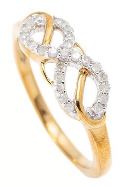 Sale 9169 - Lot 384 - A 10CT GOLD DIAMOND INFINITY RING; set with 27 single cut diamonds, size N, width 6mm, wt.2.24g.
