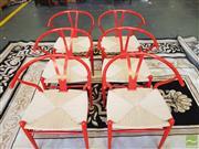 Sale 8480 - Lot 1112 - Set of Six Red Metal Wishbone Back Chairs