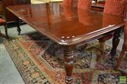 Sale 8523 - Lot 1014 - Victorian Mahogany Extension Dining Table, with push-pull mechanism, having two leaves & turned legs