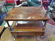 Sale 8559 - Lot 1089 - Victorian Inlaid & Figured Walnut Music Canterbury, with low shelves, turned supports & fitted drawer (reduced in height)