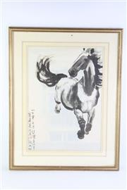 Sale 8802 - Lot 295 - Framed Chinese Print of A Horse ( 54cm x 70cm)
